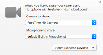 The browser ask you about taking over your camera and microphone